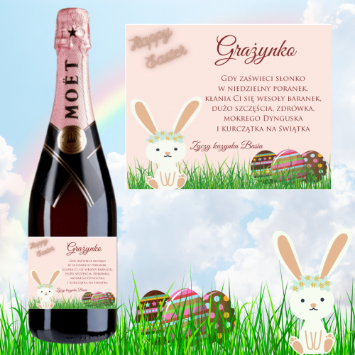 HAPPY EASTER PINK SZAMPAN MOËT & CHANDON ROSE IMPERIAL
