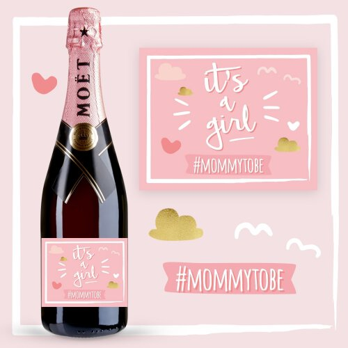 IT'S A GIRL SZAMPAN MOËT & CHANDON ROSE IMPERIAL