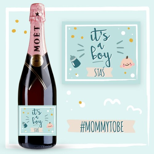 IT'S A BOY SZAMPAN MOËT & CHANDON ROSE IMPERIAL