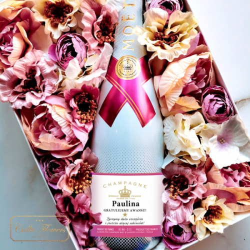 AWANS! MOET & CHANDON ICE IMPERIAL ROSE FLOWER BOX BY CALLA