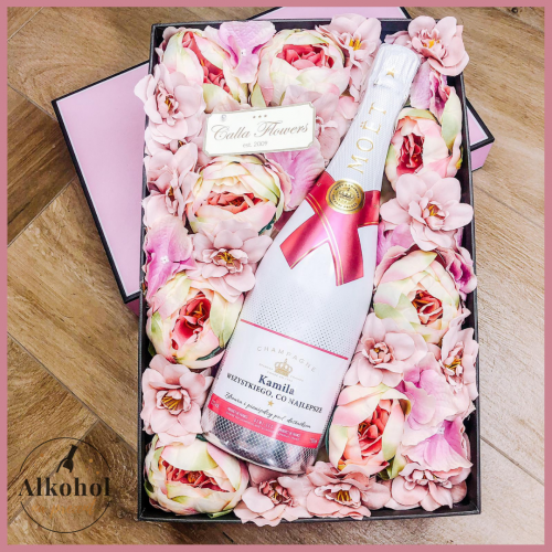 IMIENINOWY MOET & CHANDON ICE IMPERIAL ROSE FLOWER BOX BY CALLA