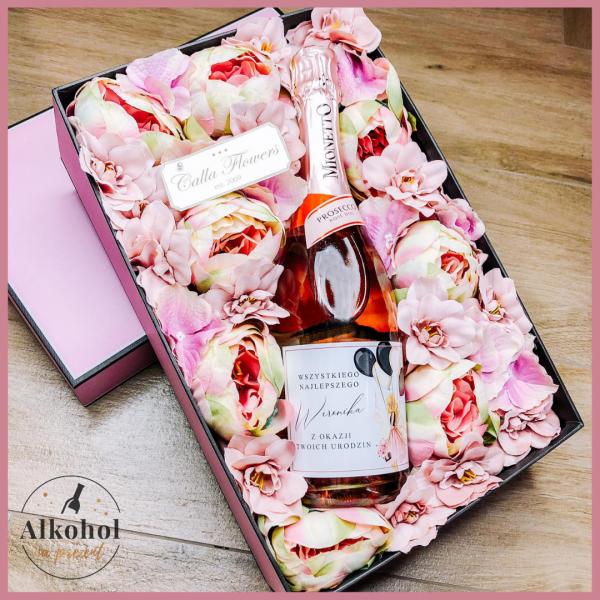 DZIEWCZYNA Z BALONAMI MIONETTO ROSE FLOWER BOX BY CALLA